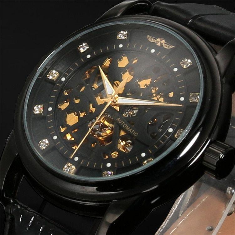 Winner Winner Top Brand Luxury Royal Diamond Design Black Gold Watch Montre Homme Mens Watches Relogio Male Skeleton Mechanical Watch