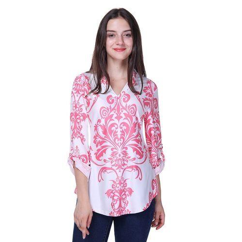 b91b9ed0b12f Fashion Casual Print Chiffon Blouse Long Sleeve Summer Loose Blouses Women  V Neck Pullover Shirt Pink
