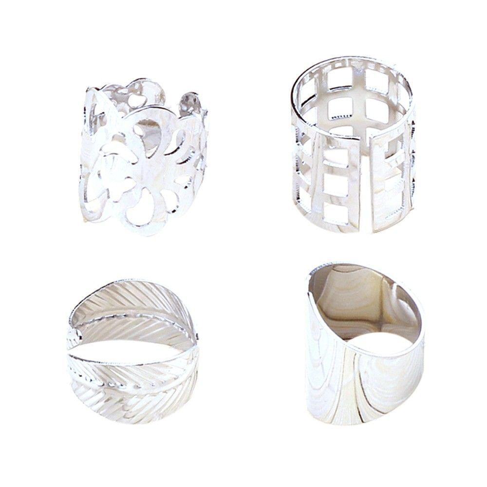 Neworldline 4pcs Fashion Alloy Punk Lo Nails Ring Combination Rings SR-Silver