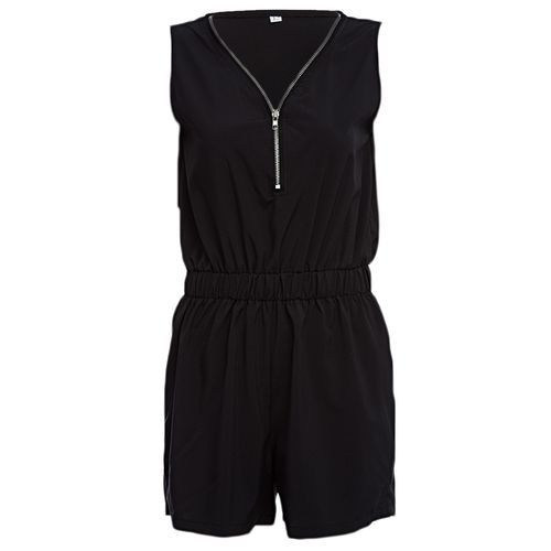 6aef8b9f2c79 Buy Fashion Casual V-neck Sleeveless Front Zipper Design Elastic Waist Pure  Color Romper For