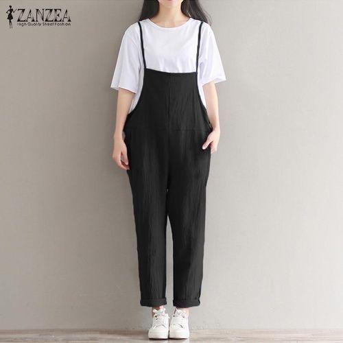 bf0271b242 Fashion S-5XL ZANZEA Womens Vintage Spaghetti Straps Solid Jumpsuit ...