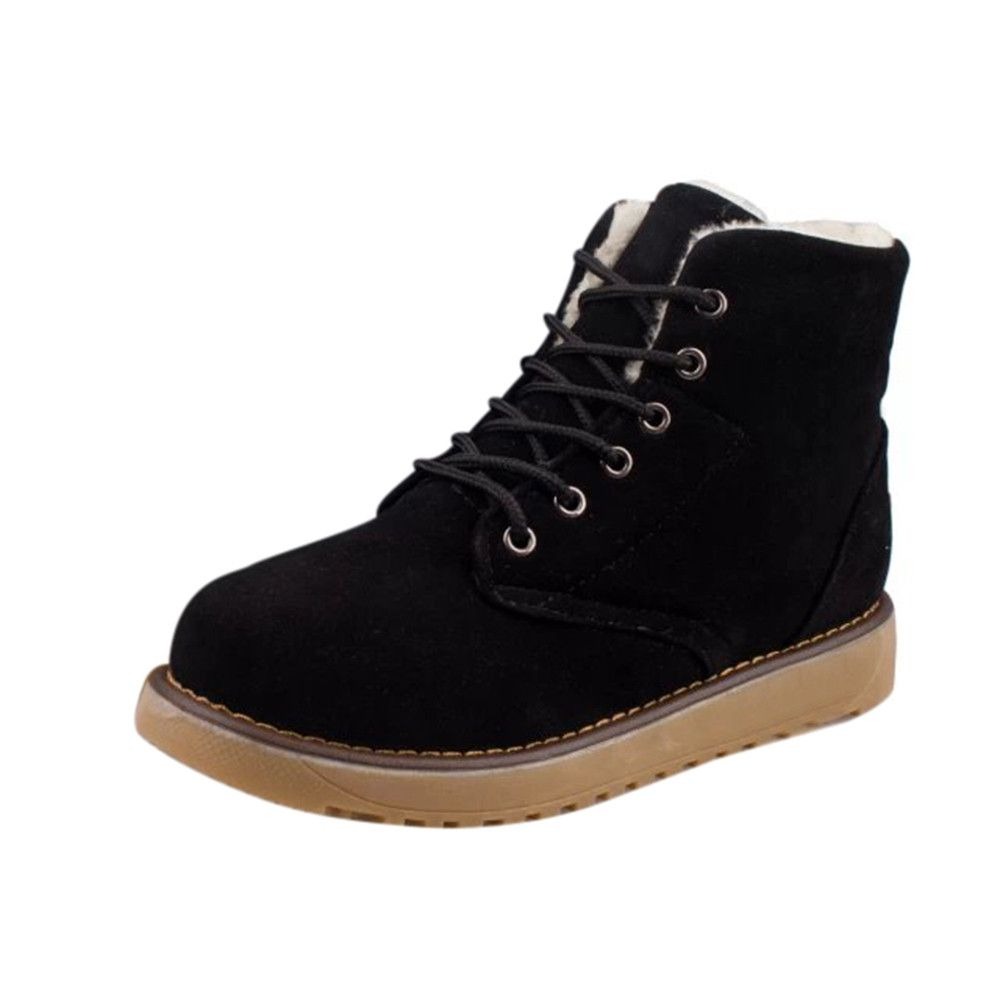 91bdd7ee642 Eissely Women Winter Warm With Velvet Flat With Lace Up Snow Boots ...