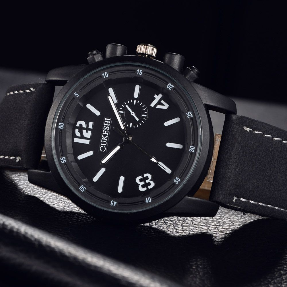 51f75bd2e Universal Henoesty Men Luxury Stainless Steel Quartz Military Sport Leather  Band Dial Wrist Watch