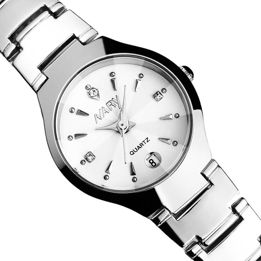 959e86441 Duoya Luxury Women Single Calendar Quartz Stainless Steel Date Wrist  Watches WH-White