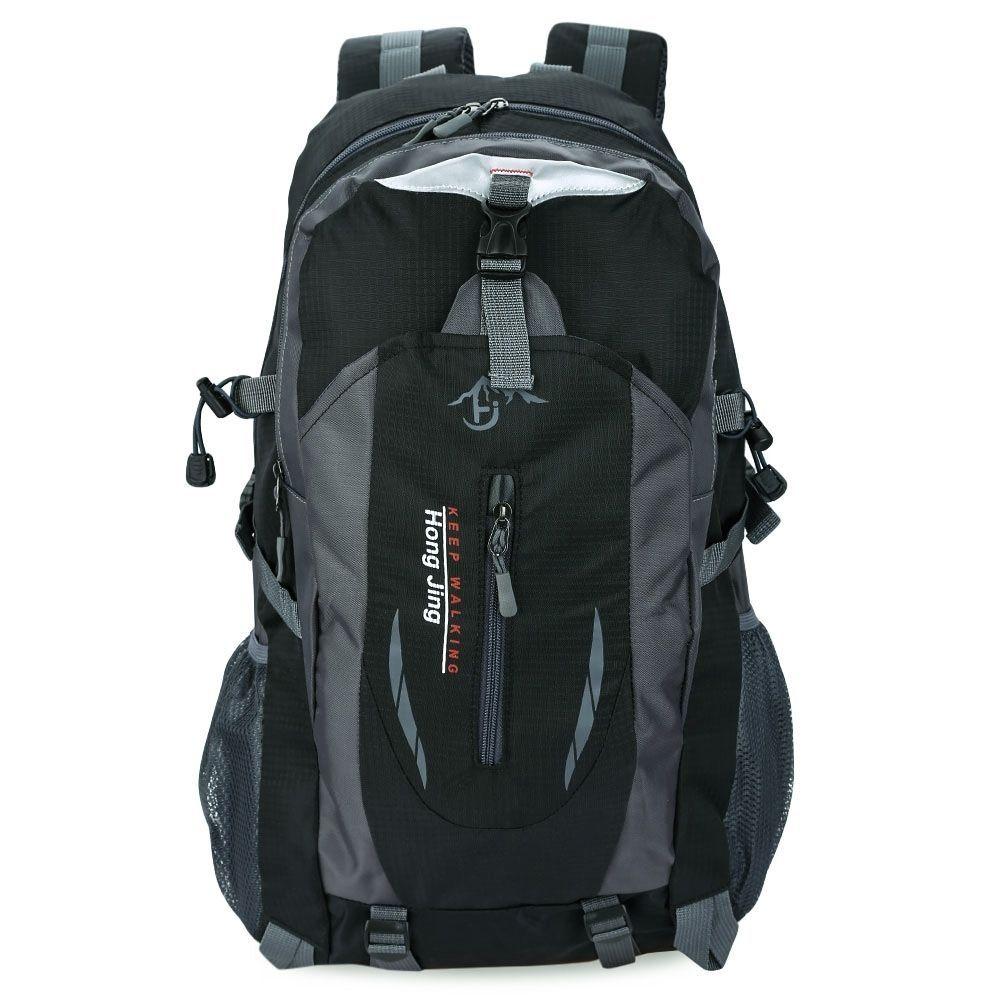 1738db59b399 Generic Patchwork Buckle Ladder Lock Zipper S Shape Mesh Strap Outdoor  Portable Backpack  BLACK