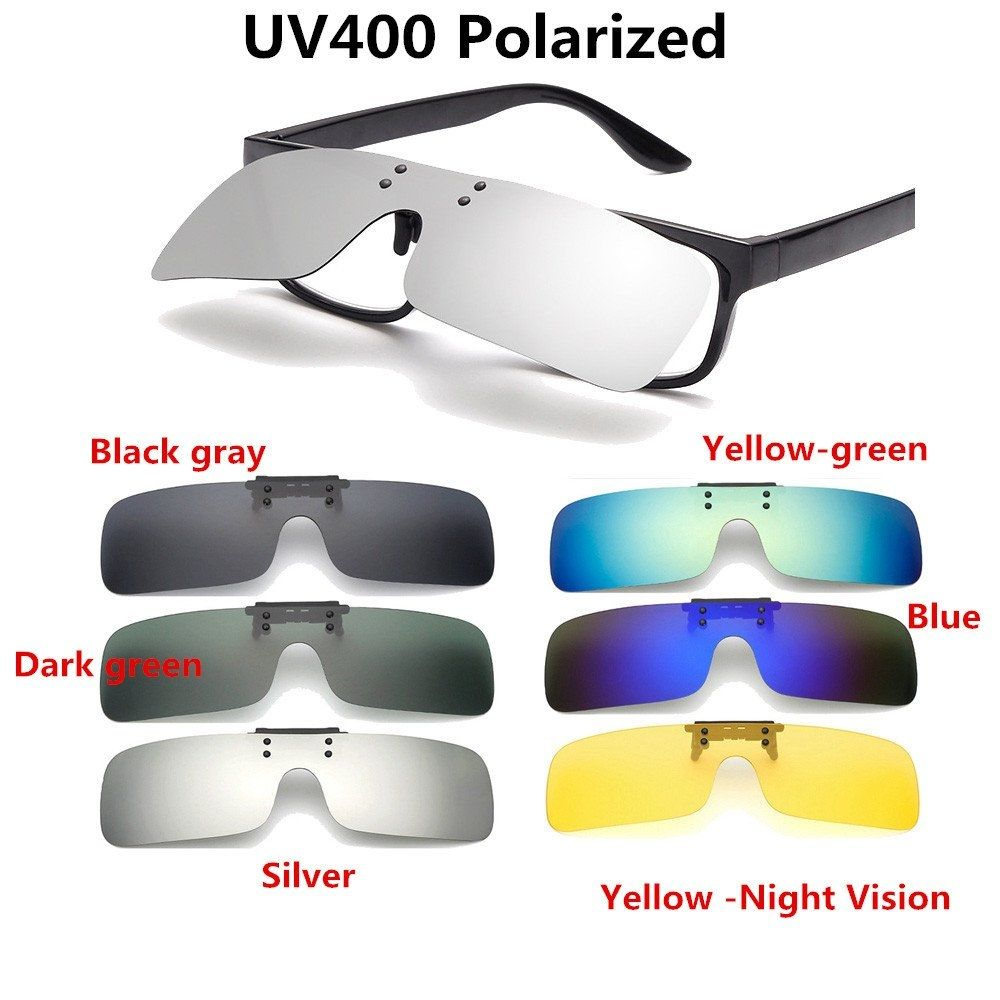 44af602330 Universal UV400 Polarized Cilp On Sunglasses Driving Riding Night Vision  Lenses For Myopia Glasses Night Vision
