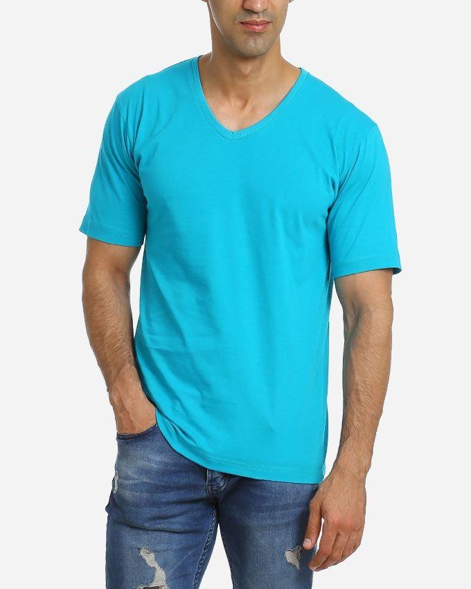 Andora Solid V-Neck T-Shirt - Blue Sky