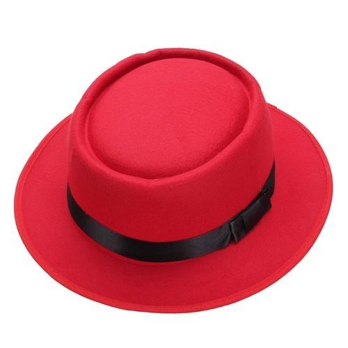 71dfd5b63c8 Fashion Men Women Wool Felt Round Fedora Cap Crushable Porkpie Vintage  Short Brim Hat Red