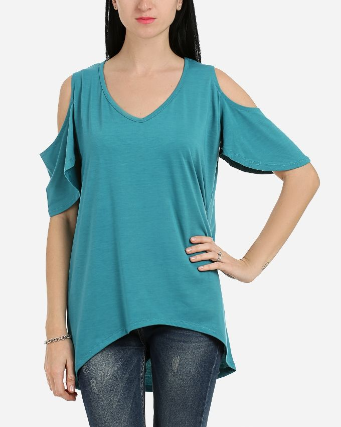 Andora Solid Strapless Tunic- Green
