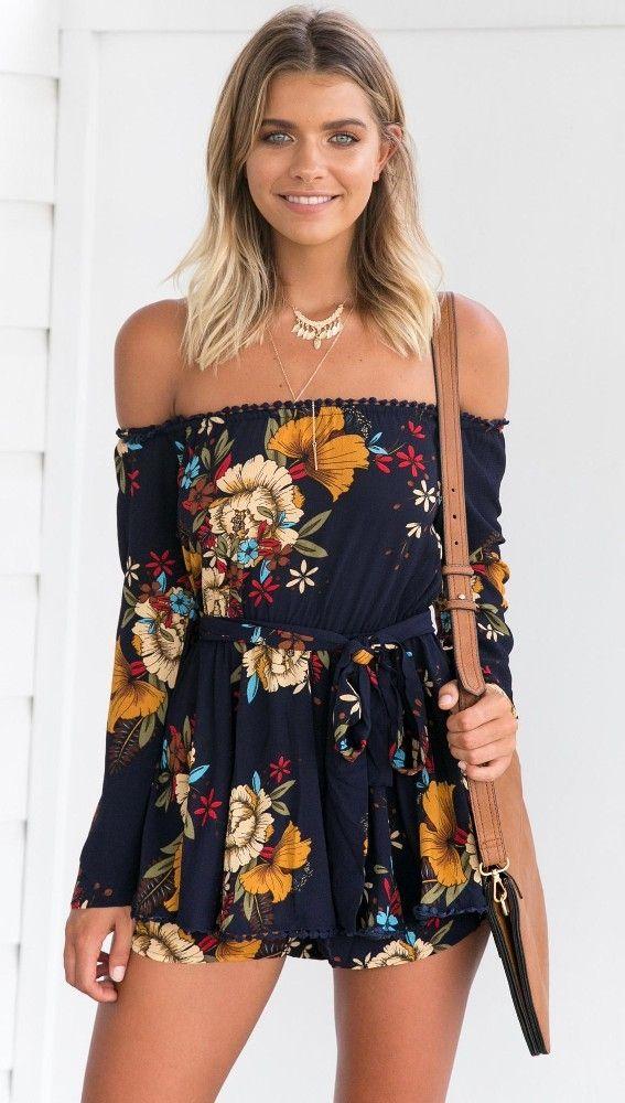 588ba9c06cd Buy Fashion YOINS Women Navy Random Floral Print Off Shoulder Long Sleeves  Playsuit With Selff-