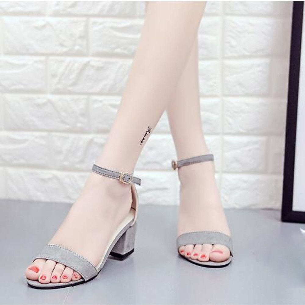 3dce3e71850 No Brand Tectores Women Single Band Chunky Heel Sandal With Ankle Strap Summer  Sandals ShoesGift