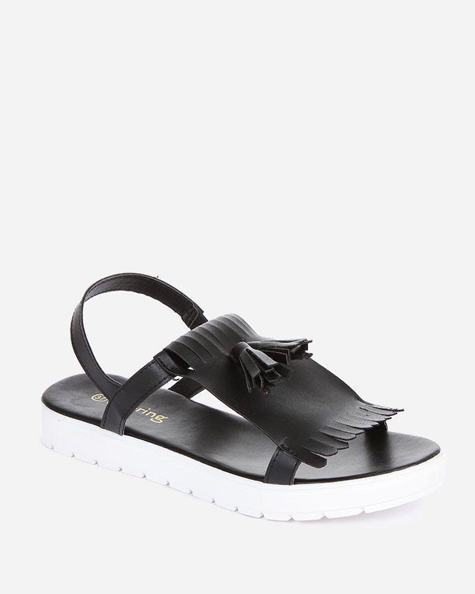 Spring Tassels Country Sandals - Black