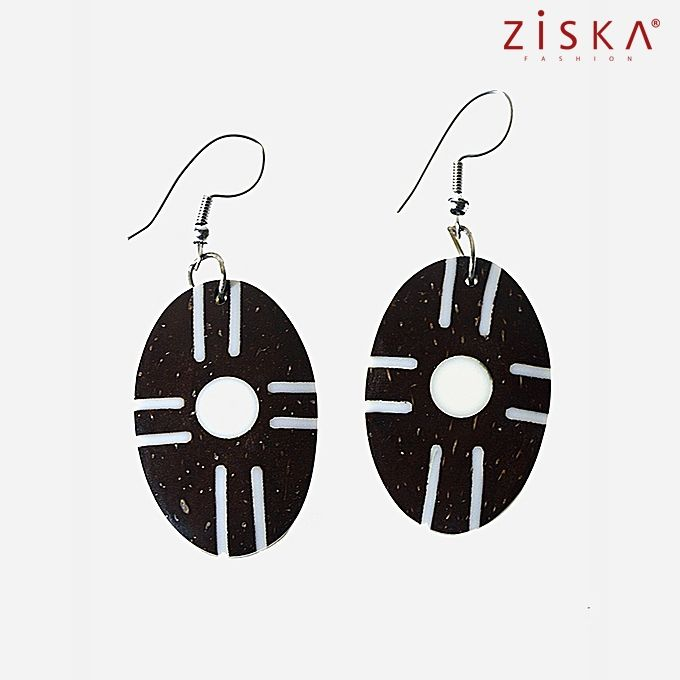 ZISKA Wooden Earrings - Dark Brown