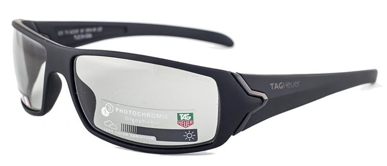 df79f8c0310 Tag Heuer Tag Heuer Sunglasses Shiny Black Plastic Front Square Shape   Black  Temple With Photochromic Grey Lenses
