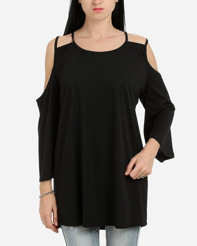 Andora Solid Double Strapless Tunic- Black