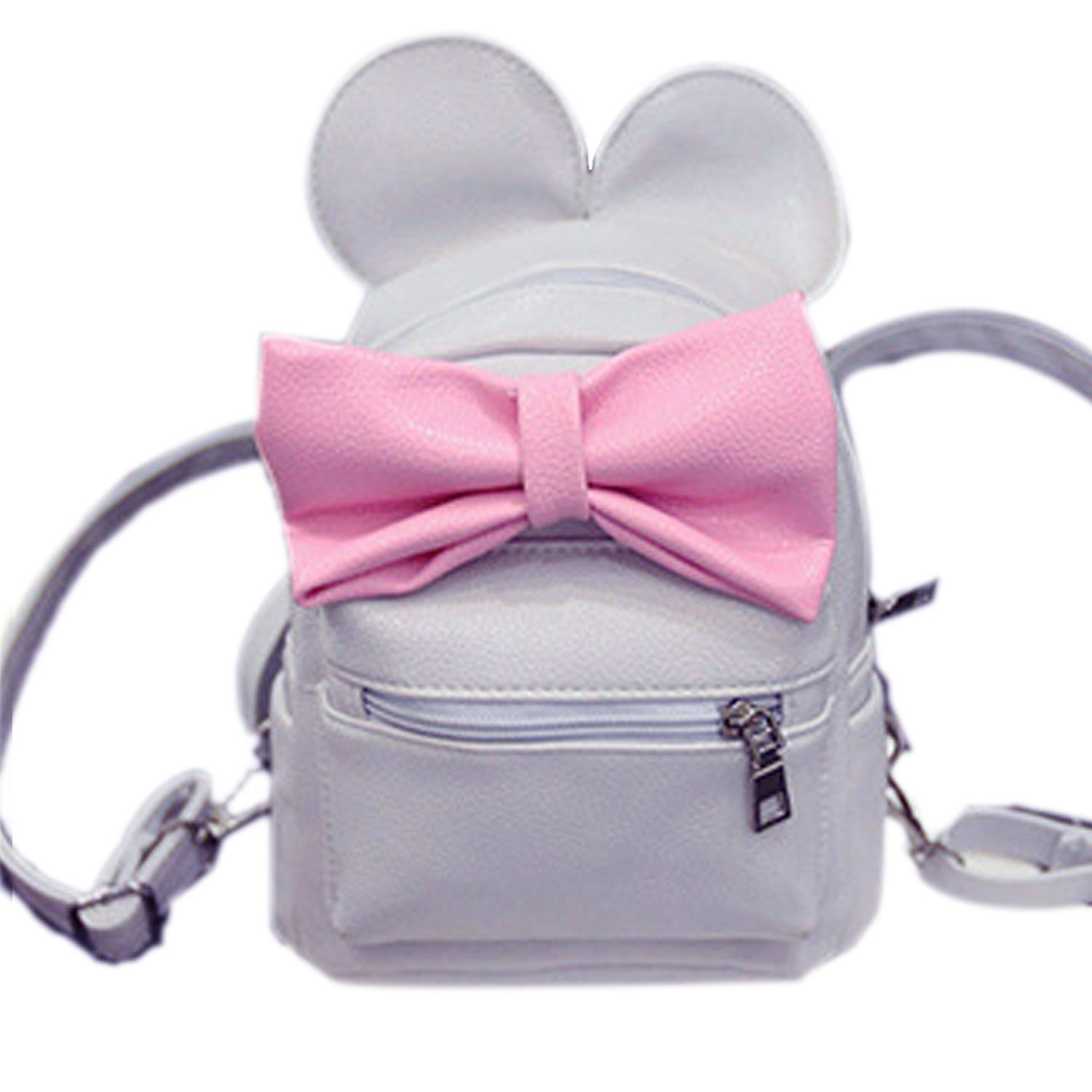 6d28910a3 Sunshine Fashion Girls Cute Synthetic Leather Bow Small Travel Backpack  School Bag-Gray. updating Prices