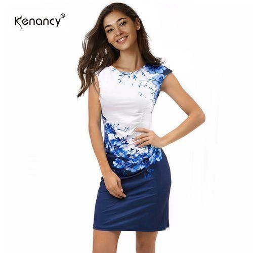 8837b344b2a Kenancy Women Sexy O-neck Bodycon Dresses - White+Blue Price in ...