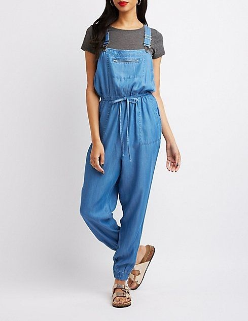 08fa23dda172 Charlotte Russe Chambray Tie-Waist Overalls. updating Prices