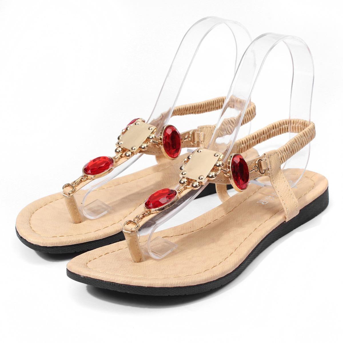 687befa8088979 Buy Fashion New Summer Womens T-Strap Sandals Shoes Sparking Diamond Flat  Beach Flip Flops