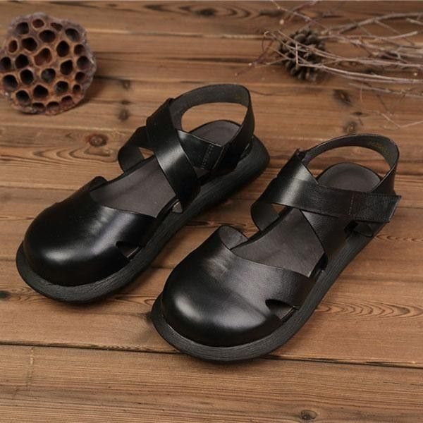 a3e3659a4 Fashion SOCOFY Hollow Out Pure Color Handmade Leather Retro Fashion Women  Flat Sandals