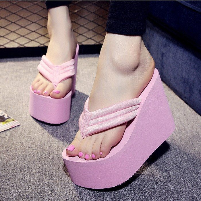 30dc7fe16bc2af Fashion Women s Sexy High Heels Flip Flops Slippers Wedge Platform ...