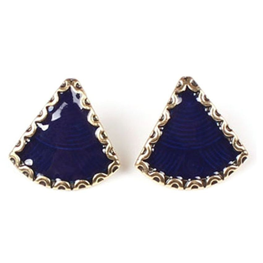 Neworldline Fashion Womens Enamel Tibet B Bib Necklace Stud Earrings Set BU-Blue
