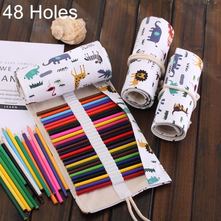 Universal 48 Slots Cartoon Animal Print Pen Bag Canvas Pencil Wrap Curtain Roll Up Pencil Case Stationery Pouch & Universal 48 Slots Cartoon Animal Print Pen Bag Canvas Pencil Wrap ...