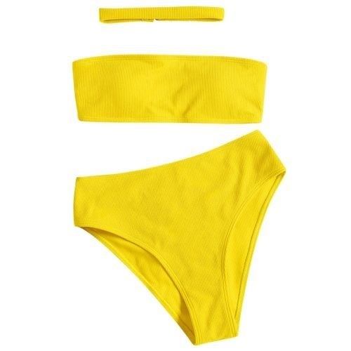 82e169ecfa Zaful Lace-up High Cut Bandeau Bikini Set-YELLOW | Swimwear ...