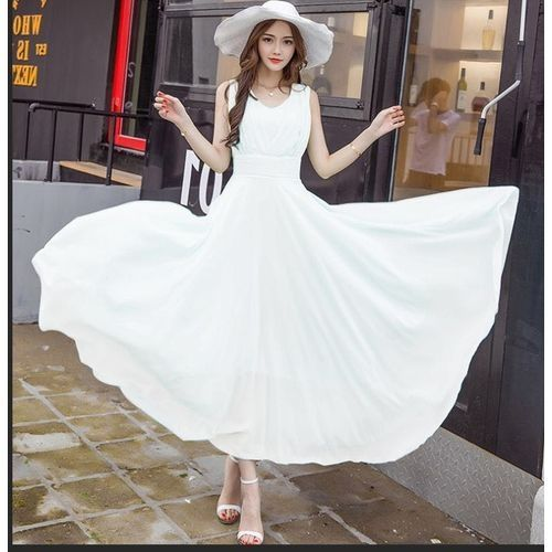 b64c1f0e63c5 Generic Plus Size Chiffon Maxi Dress Large Size Evenging Wear Dresses For  Ladies Vacation Wear To Work Maxi Dresses-white