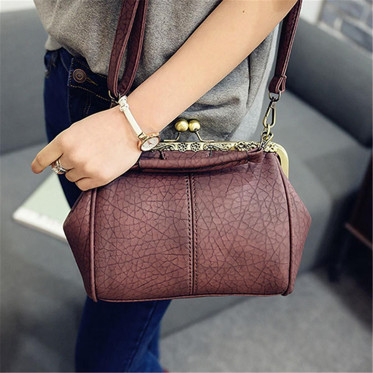 b373e12195ea Buy Generic Women Vintage Hasp Bucket Bags PU Leather Shoulder Bag  Crossbody Bag in Egypt