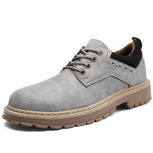 9df3a2765 Tauntte Retro Men Work Safety Shoes Male Casual Leather Shoes (Grey)