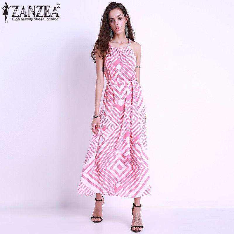 329db425a03 Fashion Womens Fashion Boho Long Dress Halter Off Shoulder Striped ...