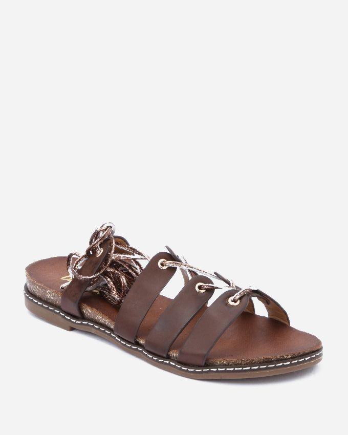 Spring Rope Tie Leg Sandals - Dark Brown