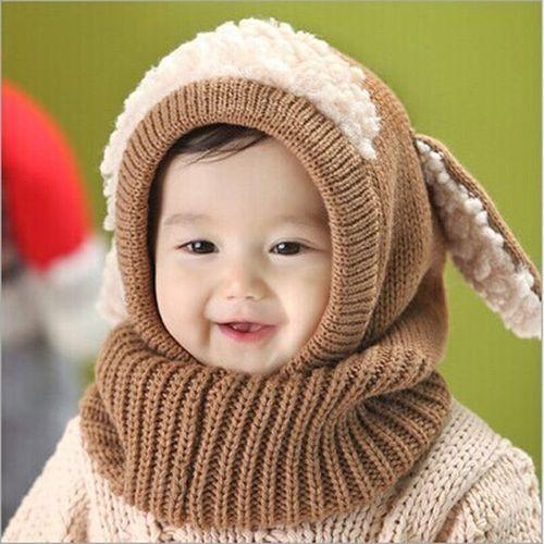 Fashion Winter Beanie Baby Kids Boy Girl Warm Hat Hooded Scarf Earflap  Knitted Wool Cap Khaki 6852b8f4ba91