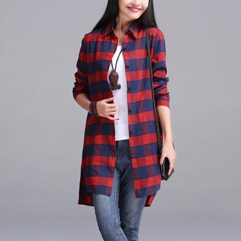 fa1edc8f816 ZANZEA ZANZEA Women Autumn Plaid Shirts Lapel Long Sleeve Asymmetrical  Split Blouses Loose Casual Blusas Tops Oversized S-5XL
