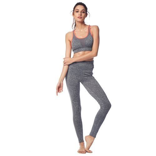 4d5a352a2ca1a Fashion Women Sports Bras Fixed Padded Leggings Yoga Set - Feather Gray