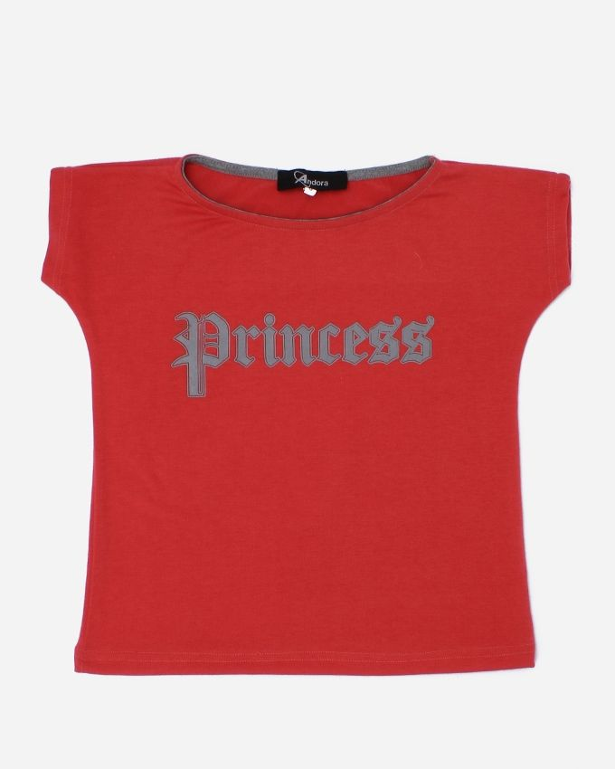 Andora 'Princess'' Printed T-Shirt - Red
