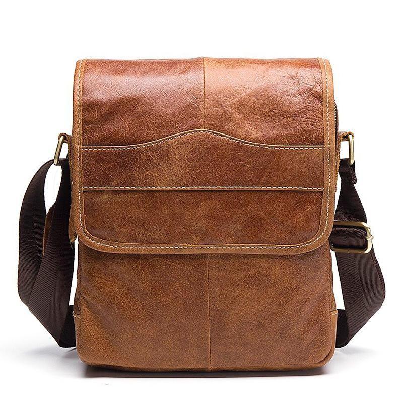 e107ed0f4a Generic Retro Casual Men s First Layer Cowhide Flip Messenger Bag ...