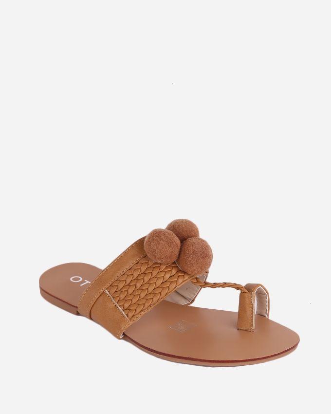 Joelle Pom Pom Fingered Sandal - Camel