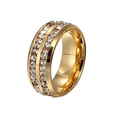 Fashion Fashion Double Diamond Ring Titanium Stainless Steel