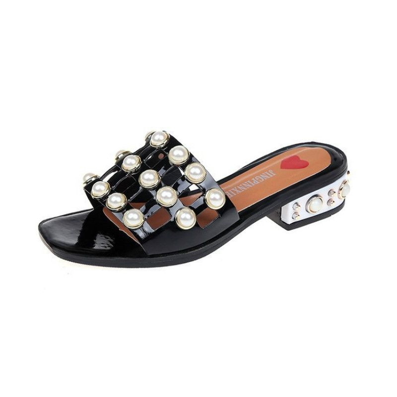 4d17dc418247 Buy Fashion Summer Outside Thick Heel Women Slippers Sandals Black in Egypt