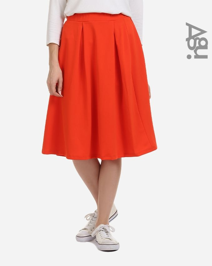 Agu Plain Fashionable Midi Skirt - Orange