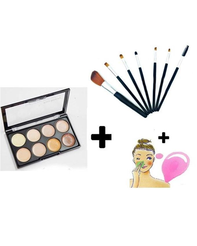 Kiss Beauty Contour Concealer Palette - 8 Shades + 7 Brushes + Cleansing Pad