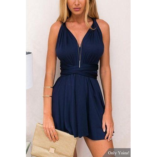 fc6f297ece9 Fashion YOINS New Women Summer Deep V-neck Mini Dress Sleeveless ...