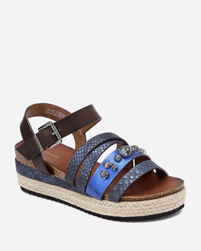 Spring Leather Sandals - Dark Blue