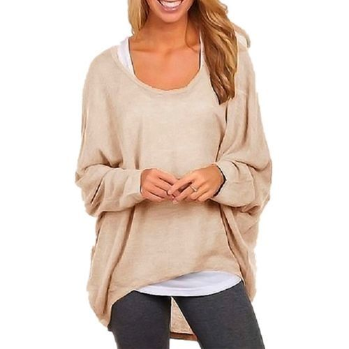 fd10c62546284 Znu Womens Plus Size Casual Long Sleeve Blouse Slouchy Pure Color Shirt Top  Pullover