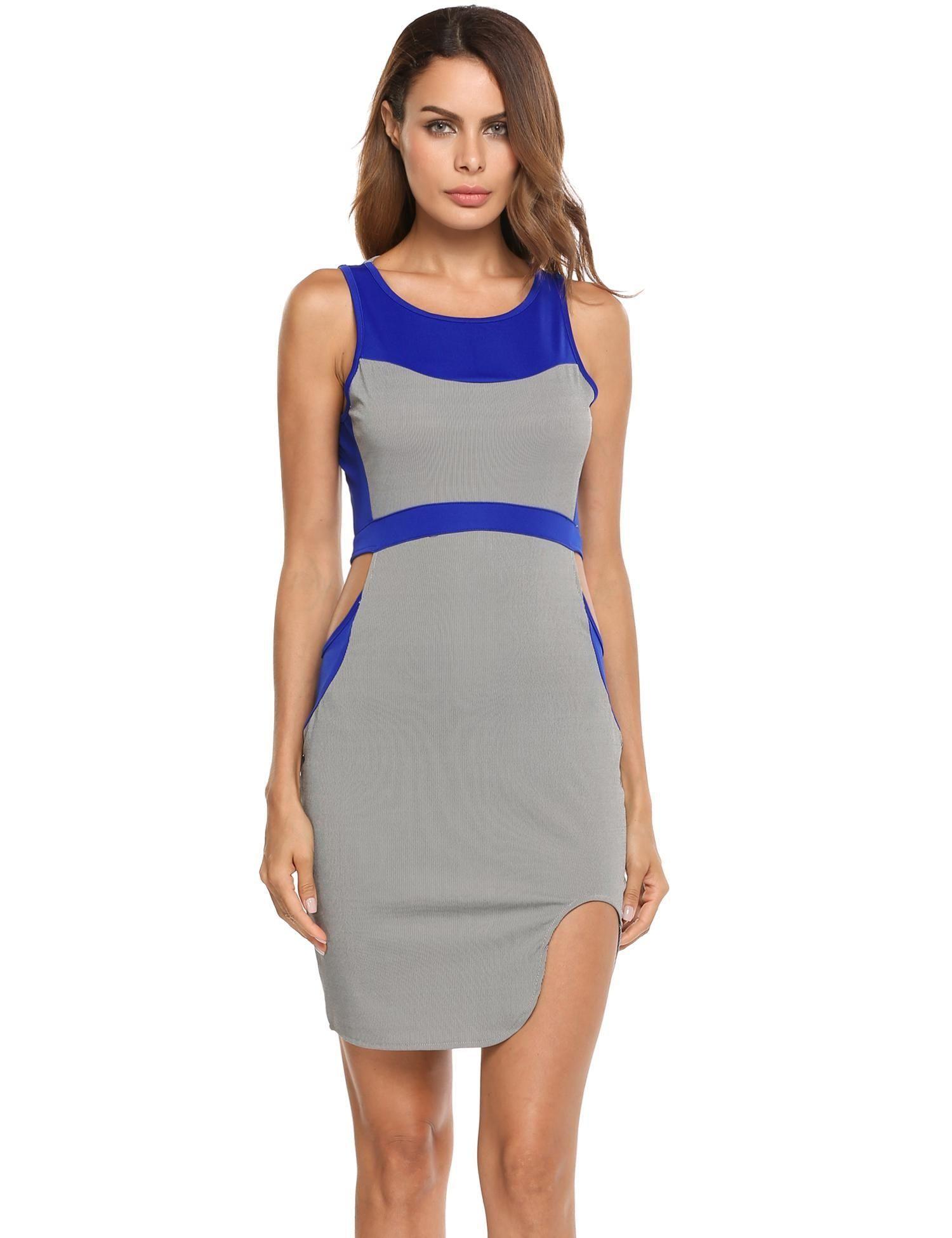 0fd5aefa Buy Sunshine Women O-Neck Sleeveless Patchwork Contrast Color Hollow Out  Waist Mini Dress-