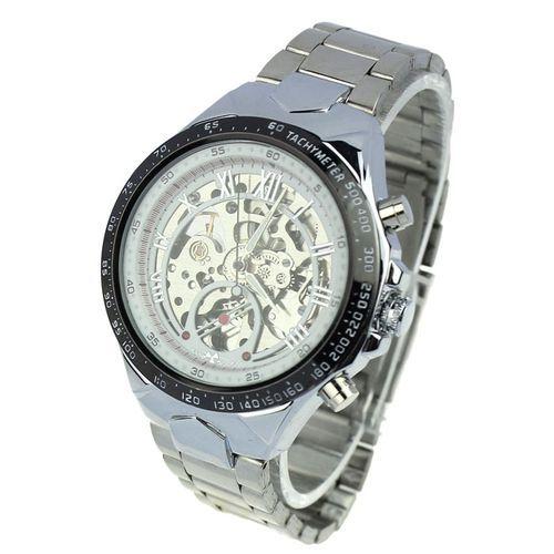 Winner Blicool Wrist Watch WINNER Men Skeleton Automatic Mechanical Stainless Steel Band Watch WH-white