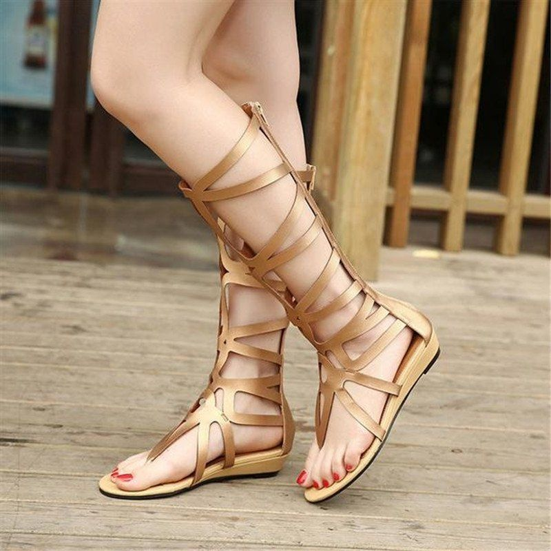 989f61ce323 Fashion Sexy Women Strappy Open Toe Zipper Knee High Gladiator Sandals  Boots Flat Shoes Gold -intl. updating Prices