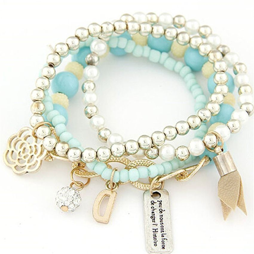 Neworldline 4PCS/Set Women Multilayer Acrylic Beads Bangle Bracelets Beach-Blue